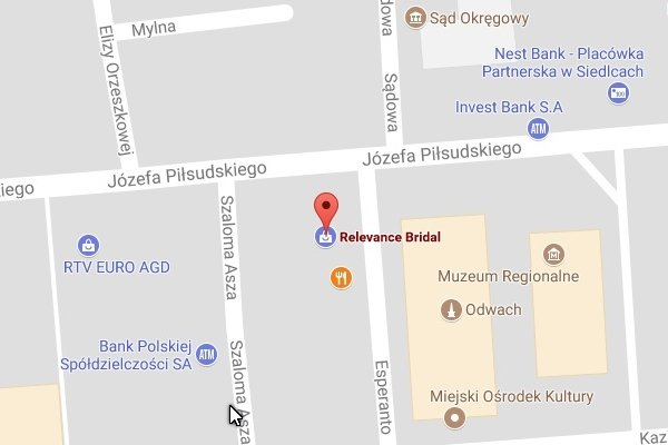 Location, map with Relevance Bridal, google business map